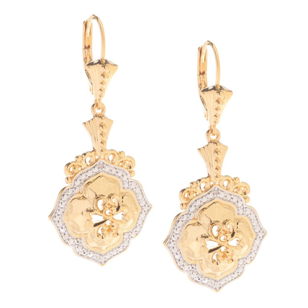 "141-613 - Jaipur Bazaar 18K Gold Embraced™ 1.8"" Domed Scrollwork Dangle Earrings"