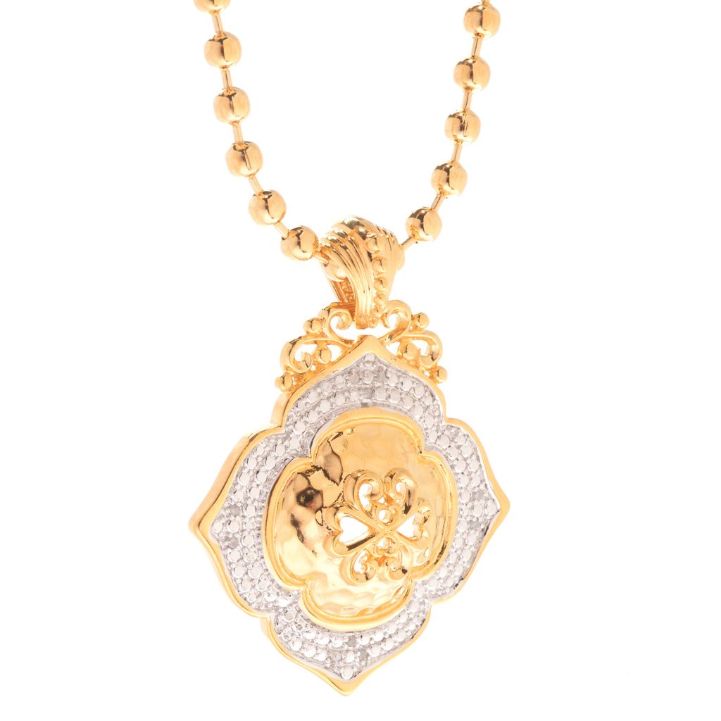 """141-614 - Jaipur Bazaar 18K Gold Embraced™ Cut-out Scrollwork Domed Pendant w/ 18"""" Chain"""