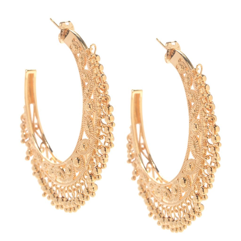 "141-615 - Jaipur Bazaar 18K Gold Embraced™ 2"" Scrollwork Dangling Bead Hoop Earrings"