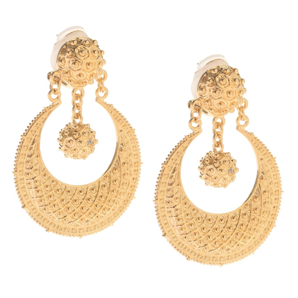 "141-617 - Jaipur Bazaar 18K Gold Embraced™ 1.75"" Beaded Charm Front-Facing Hoop Earrings"
