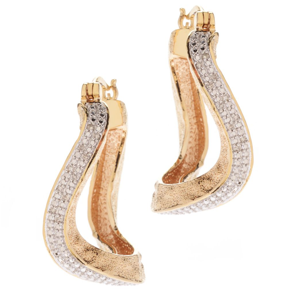 "141-618 - Jaipur Bazaar 18K Gold Embraced™ 1.25"" Wavy Hoop Earrings"