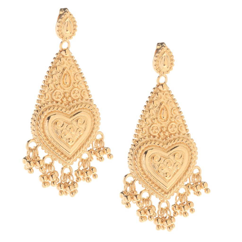 "141-619 - Jaipur Bazaar 18K Gold Embraced™ 1.75"" Ornate Drop Beaded Charm Heart Earrings"