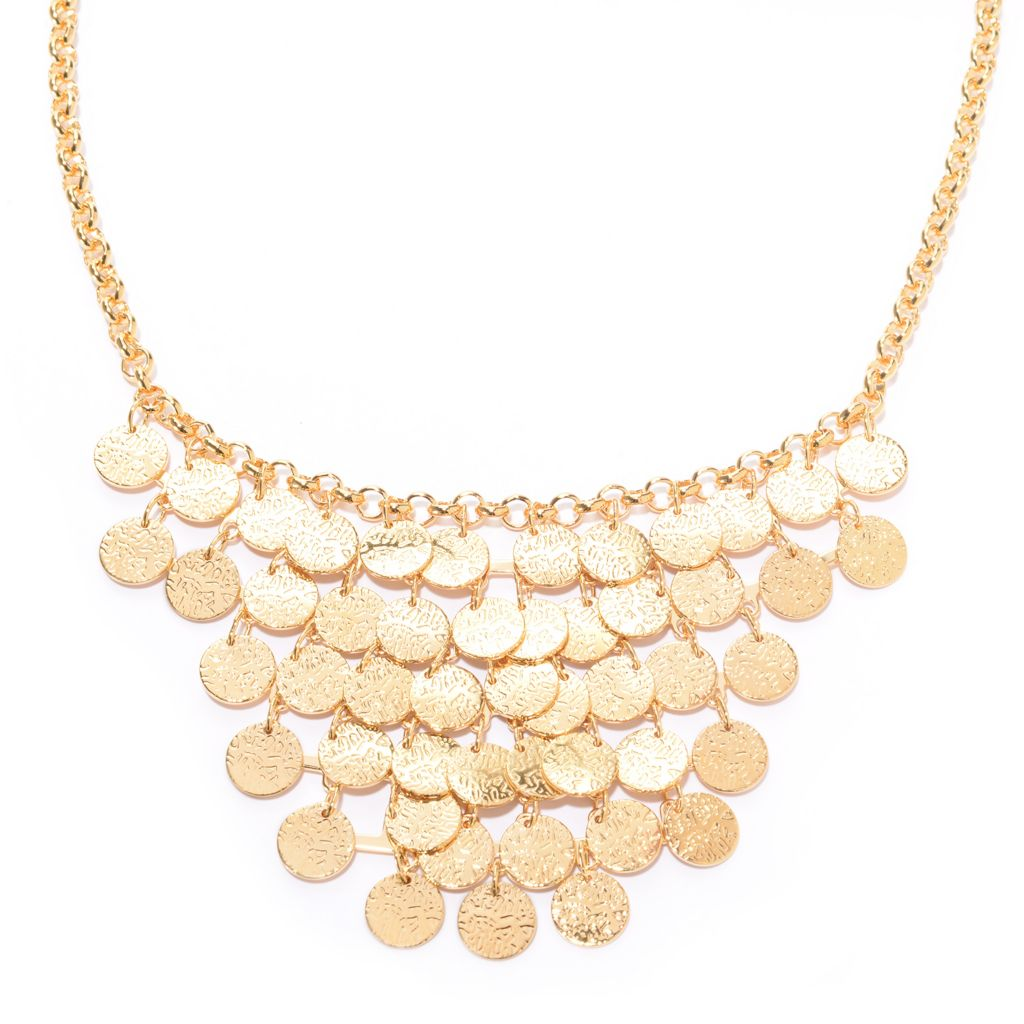 "141-623 - Jaipur Bazaar 18K Gold Embraced™ 18"" Textured Dangling Coin Bib Necklace"