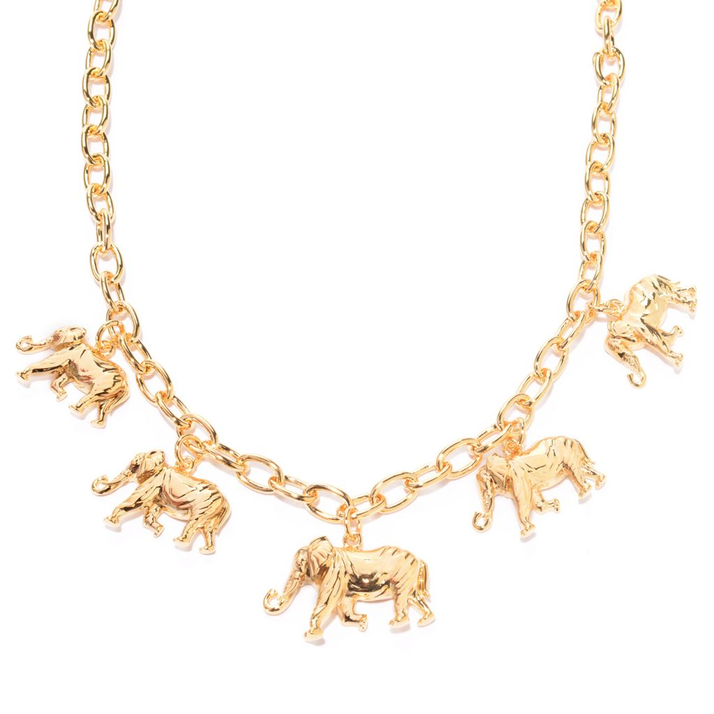 "141-624 - Jaipur Bazaar 18K Gold Embraced™ 18"" Polished Elephant Charm Necklace"