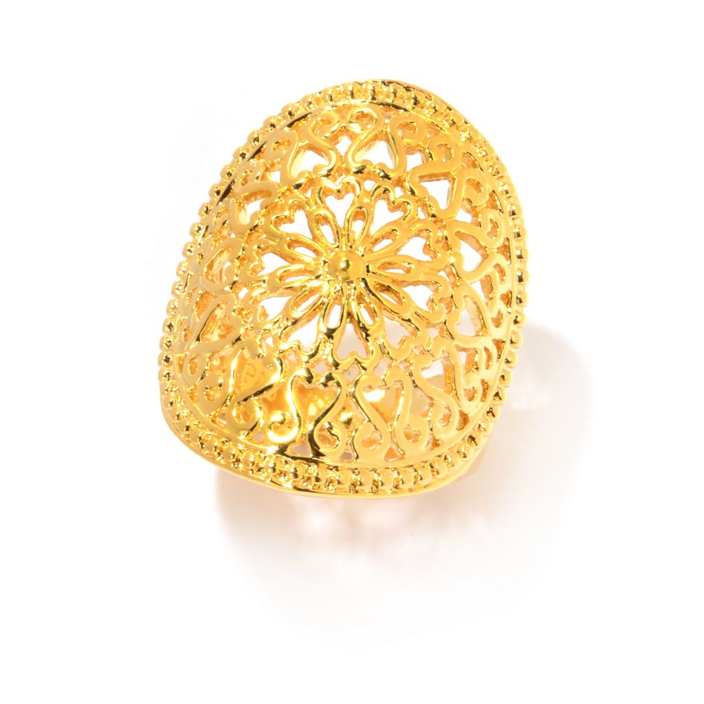 141-625 - Jaipur Bazaar 18K Gold Embraced™ Heart & Flower Polished Filigree Oval Ring