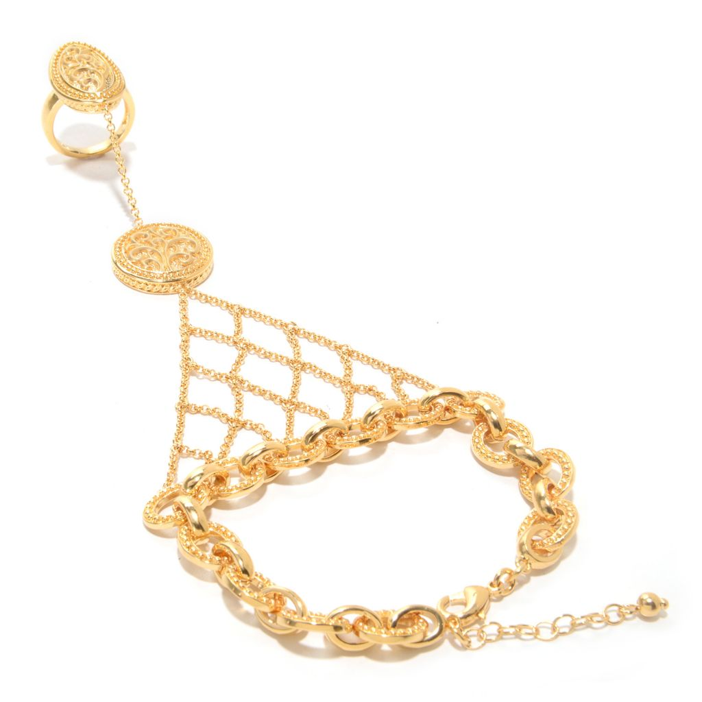 "141-626 - Jaipur Bazaar 18K Gold Embraced™ 7.5"" Fancy Link Bracelet w/ Connected Ring"