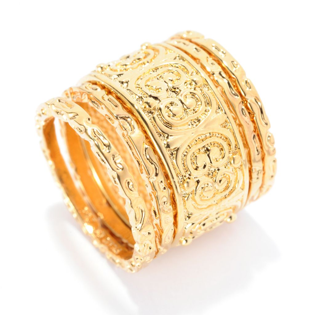 141-627 - Jaipur Bazaar 18K Gold Embraced™ Set of Five Ornate Scrollwork Band Rings