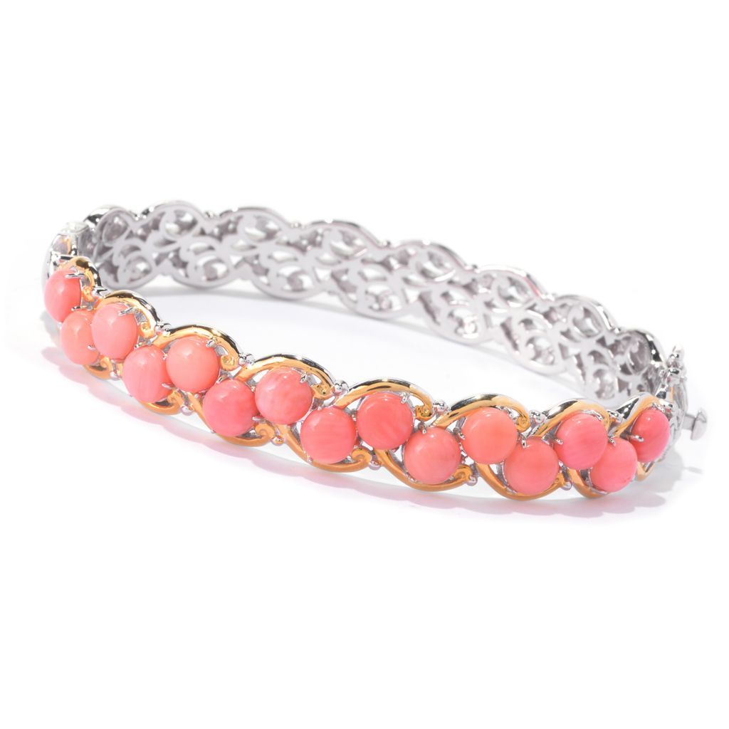 141-630 - Gems en Vogue Round Bamboo Coral Scrollwork Hinged Bangle Bracelet