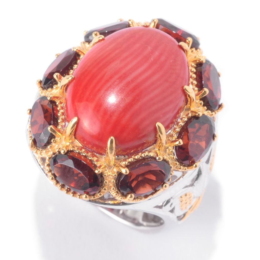 141-631 - Gems en Vogue 16 x 12mm Oval Red Bamboo Coral & Almandine Garnet Halo Ring