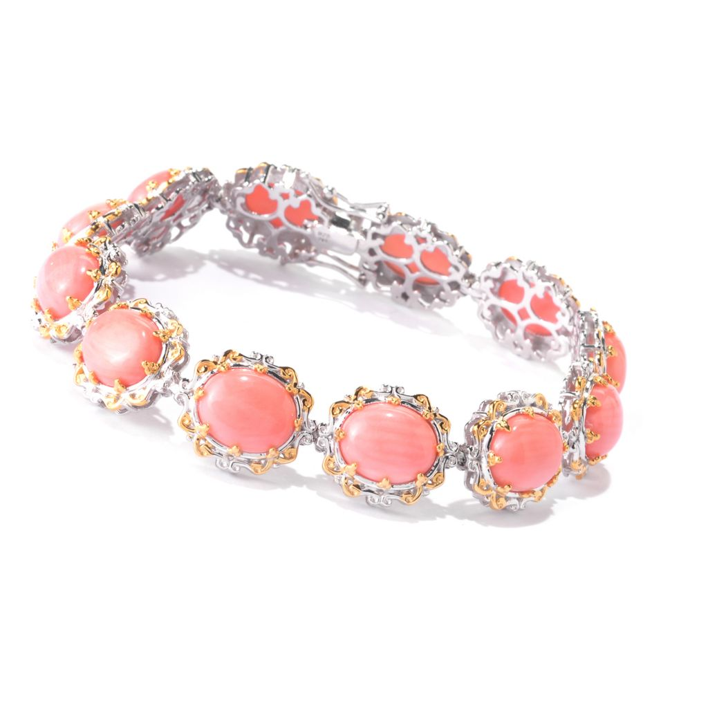 141-632 - Gems en Vogue 11 x 9mm Oval Bamboo Coral Tennis Bracelet