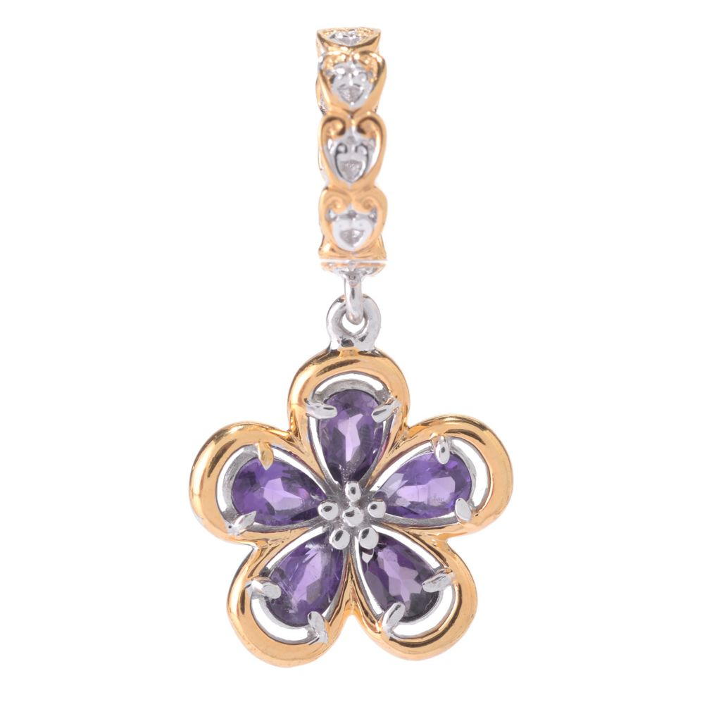 141-637 - Gems en Vogue Pear Shaped Gemstone Flower Drop Charm
