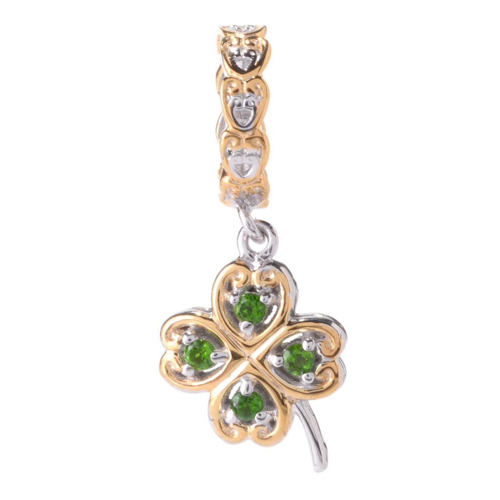 141-639 - Gems en Vogue Chrome Diopside Four-Leaf Clover Drop Charm