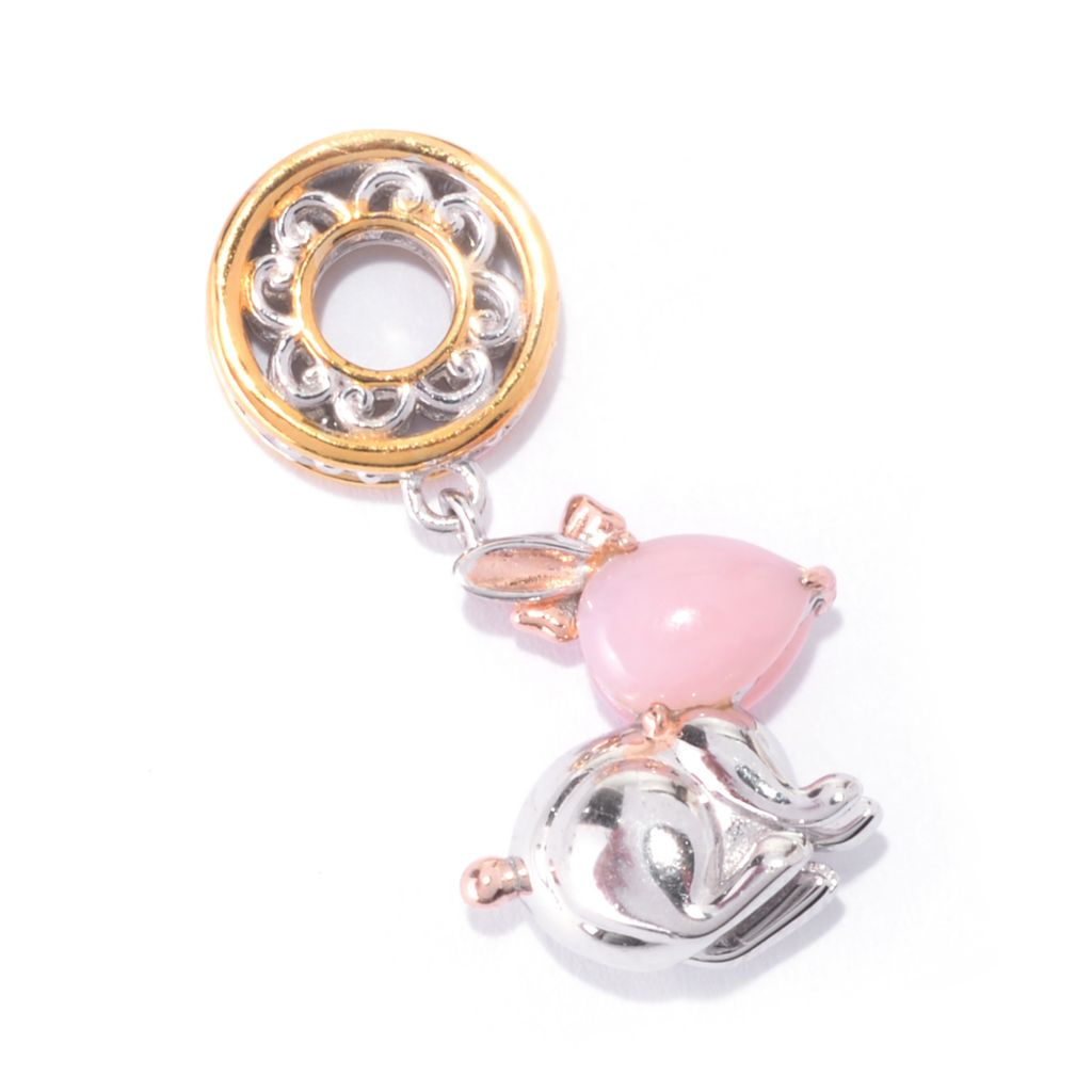 141-640 - Gems en Vogue Pear Shaped Pink Opal & Pink Sapphire Rabbit Drop Charm