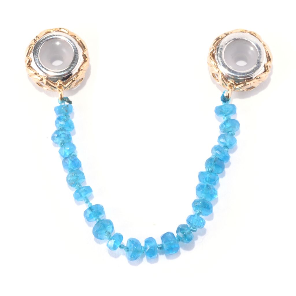 141-642 - Gems en Vogue Beaded Neon Apatite Slide-on Stopper Charm
