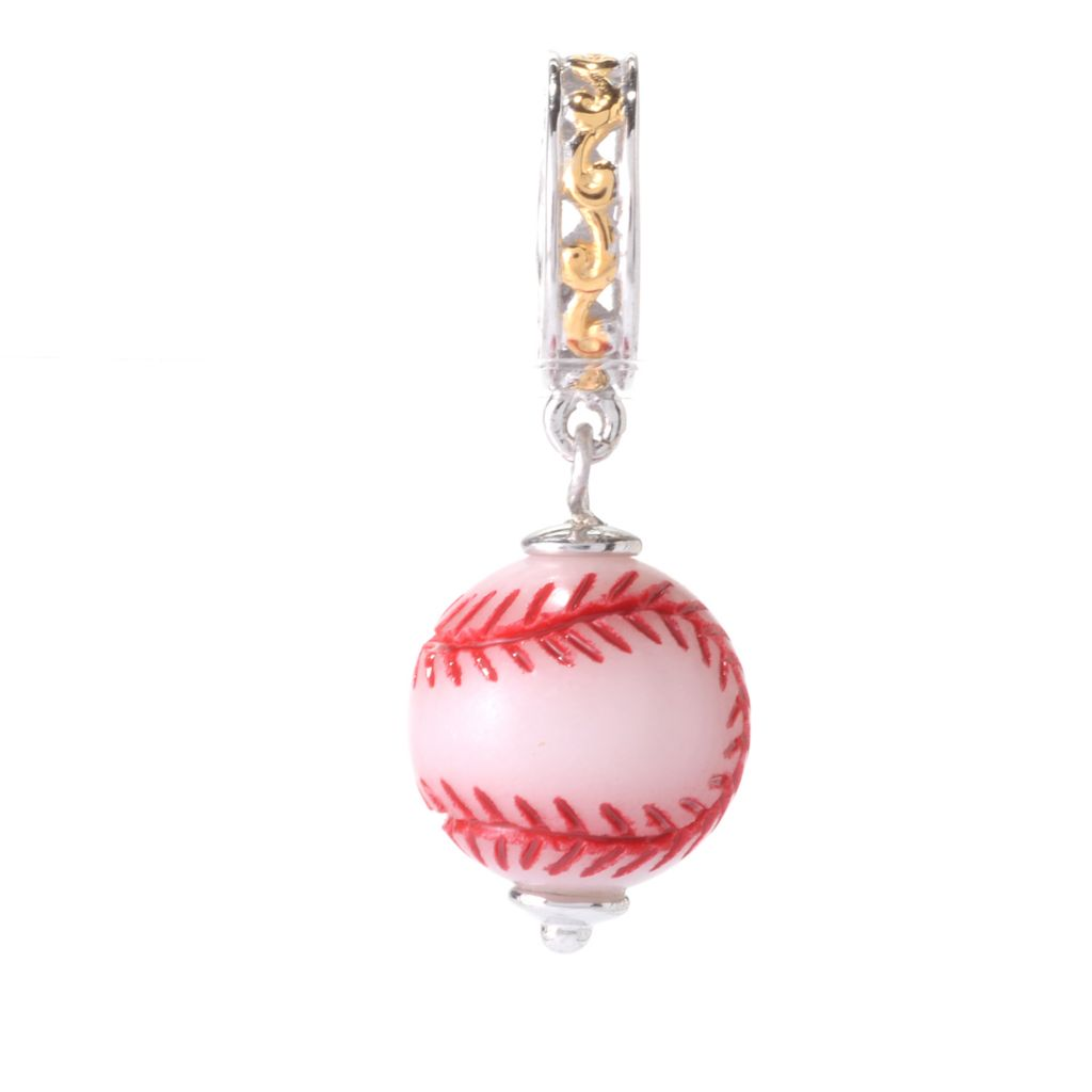 141-643 - Gems en Vogue 12mm Hand-Carved & Hand-Painted White Jade Baseball Charm
