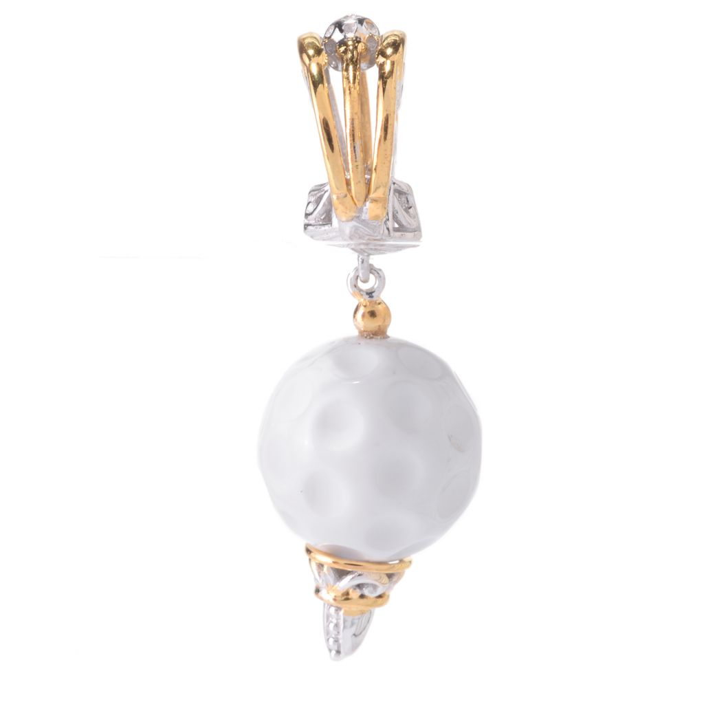 141-644 - Gems en Vogue 12mm Round Bead White Agate Golf Ball Drop Charm