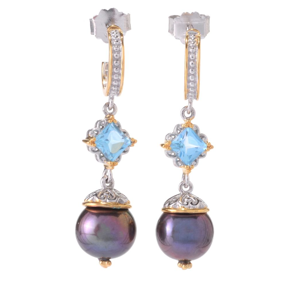 "141-645 - Gems en Vogue 1.5"" Gemstone & 10mm Freshwater Cultured Pearl Drop Earrings"