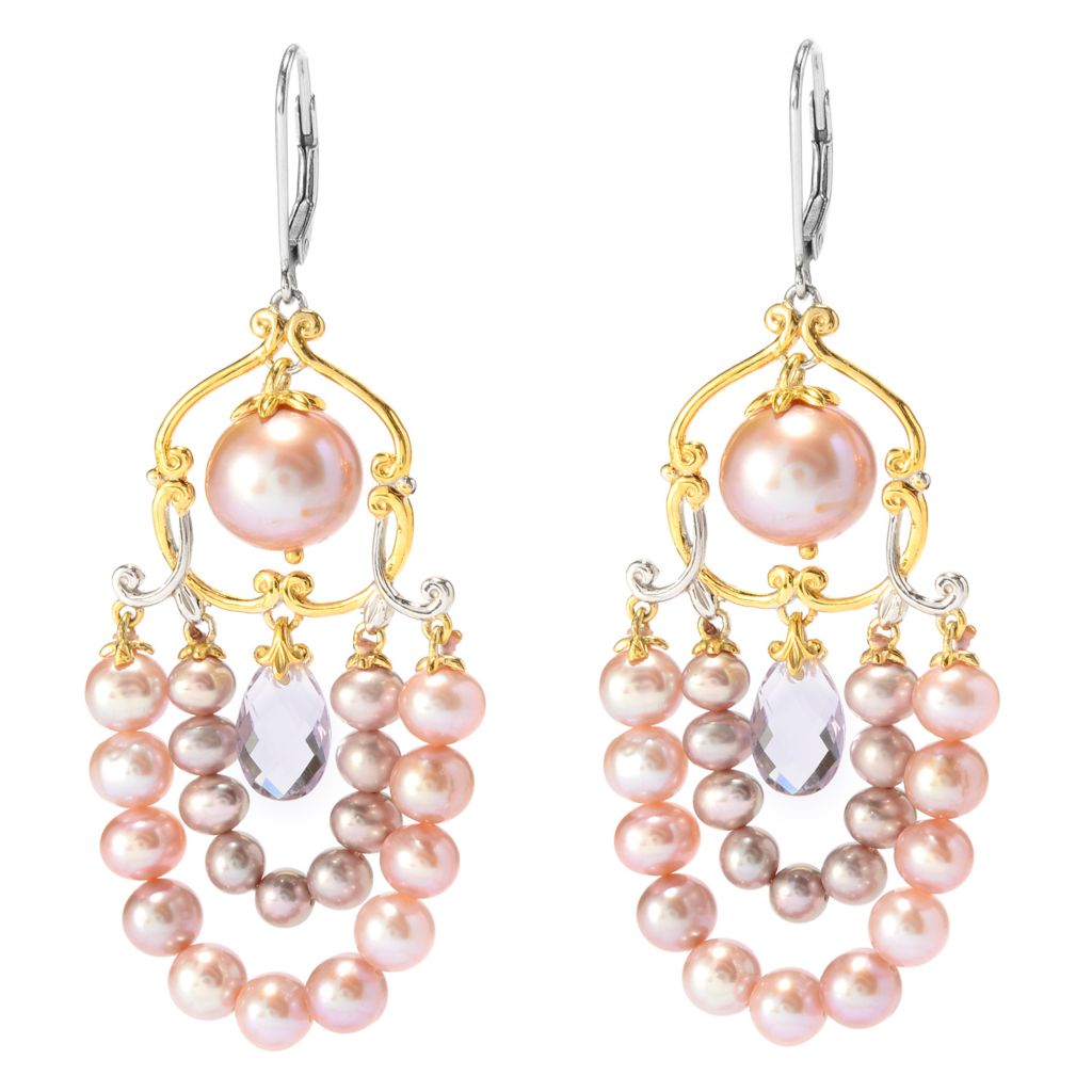 "141-646 - Gems en Vogue 2.5"" Blush Freshwater Cultured Pearl & Amethyst Earrings"