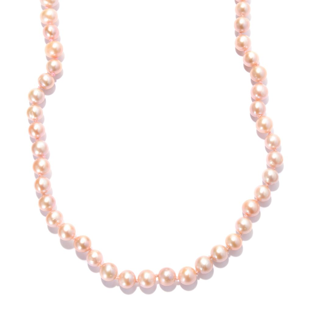 "141-648 - Gems en Vogue 36"" 8mm Blush Freshwater Cultured Pearl Toggle Necklace"
