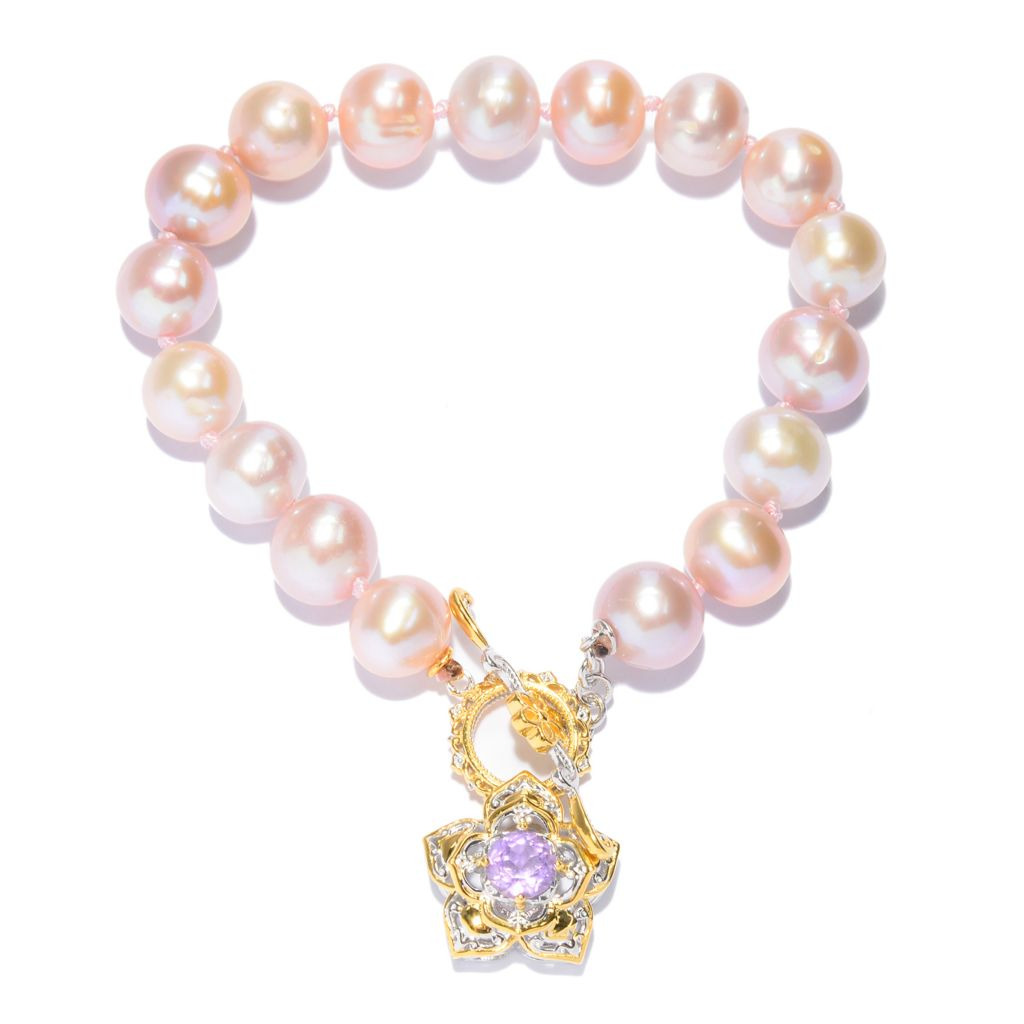 141-649 - Gem en Vogue 9.5-10mm Peach Freshwater Cultured Pearl & Amethyst Bracelet