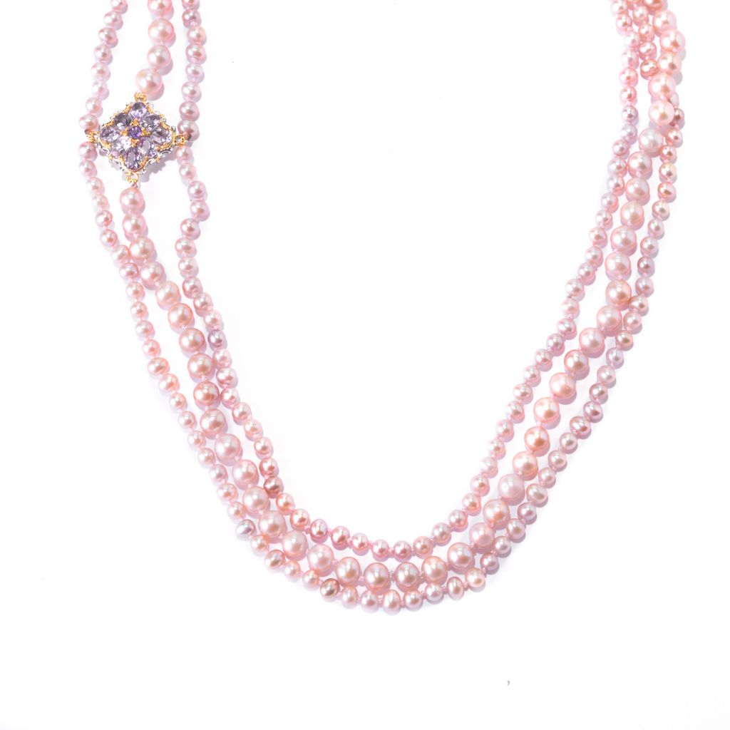 "141-650 - Gems en Vogue 30"" Blush 4-8mm Freshwater Cultured Pearl & Amethyst Necklace"