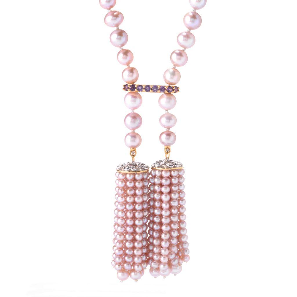 """141-651 - Gems en Vogue 20"""" Lavender 3.5-8mm Freshwater Cultured Pearl & Amethyst Necklace"""