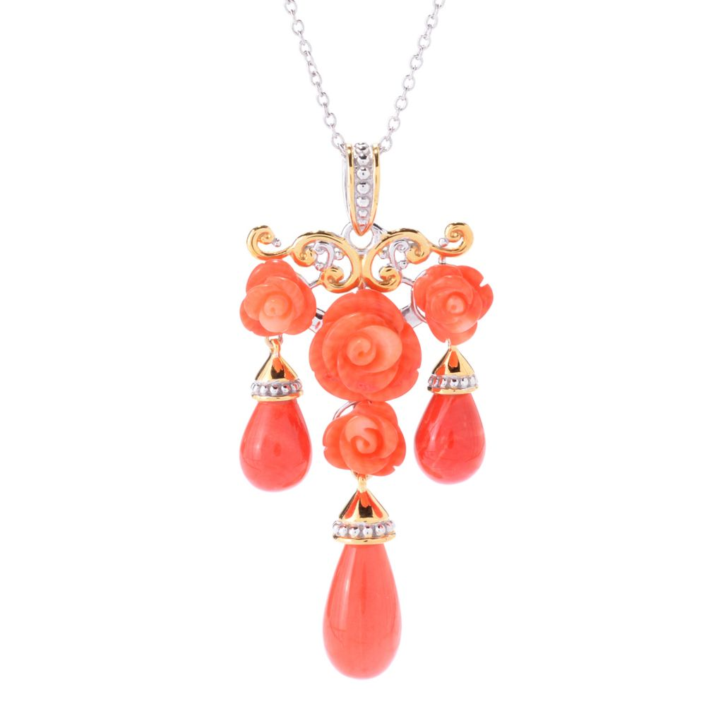 141-655 - Gems en Vogue Carved Salmon Bamboo Coral Flower Drop Pendant w/ Chain