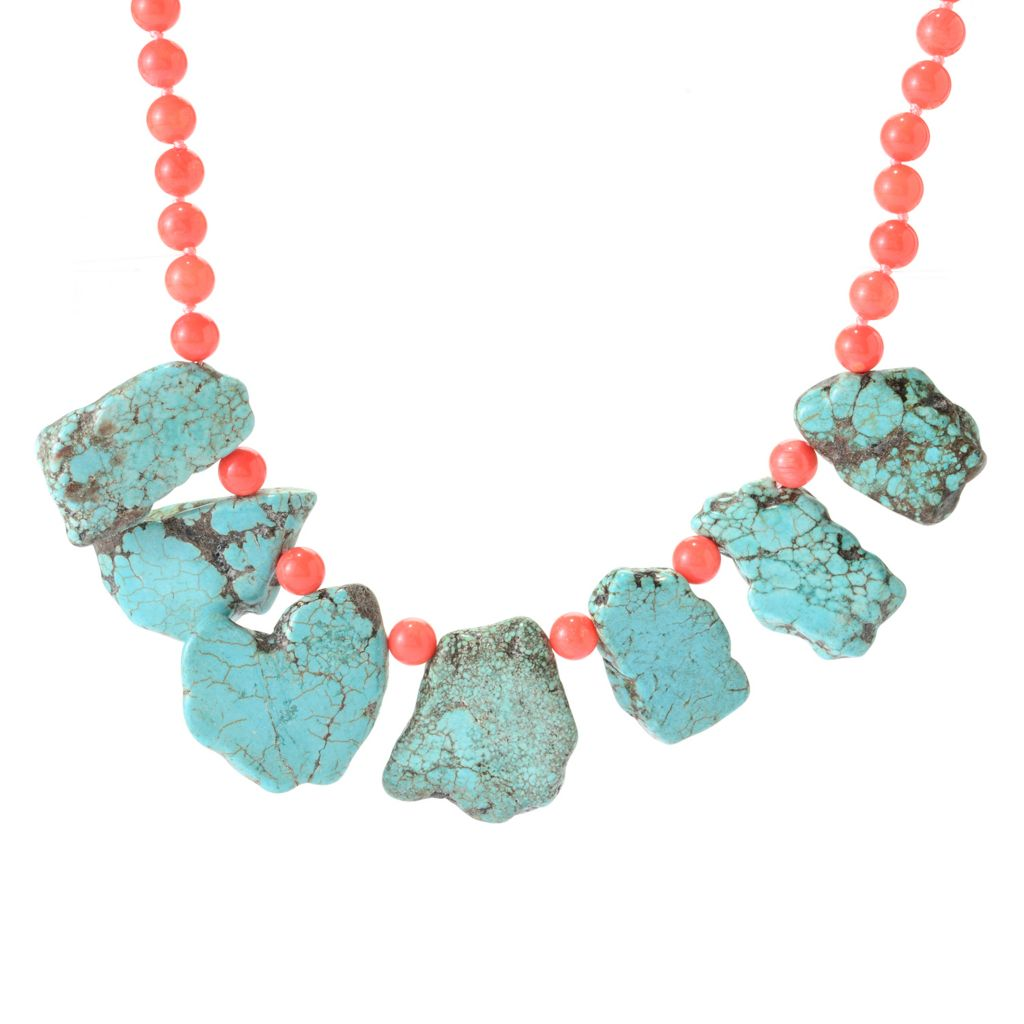 "141-656 - Dallas Prince Sterling Silver 24"" Turquoise & Sea Bamboo Coral Toggle Necklace"