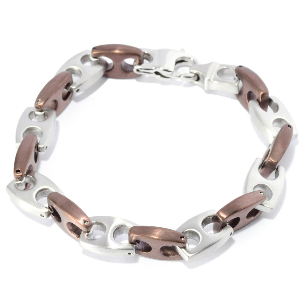 "141-657 - Steel Impact™ Men's Two-tone Stainless Steel 8.5"" Alternating Mariner Bracelet"
