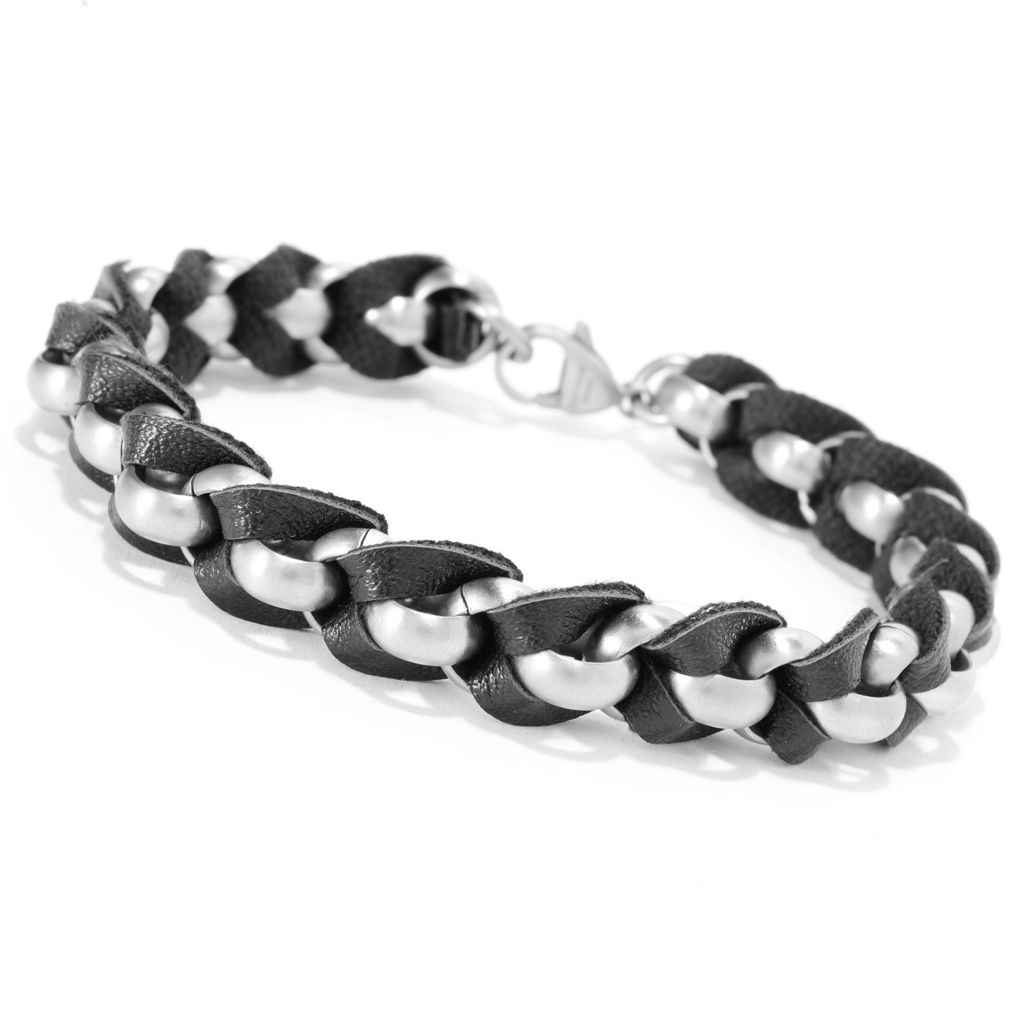 "141-658 - Steel Impact™ Men's Stainless Steel & Leather 8"" Brushed Rolo Link Bracelet"