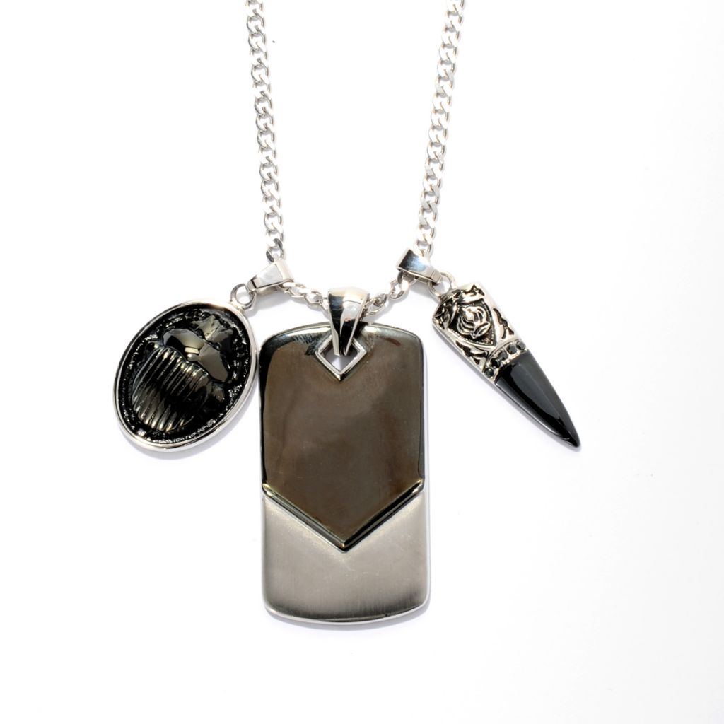 141-660 - Steel Impact™ Men's Three-Piece Stainless Steel Dagger, Scarab & Tag Pendant Set