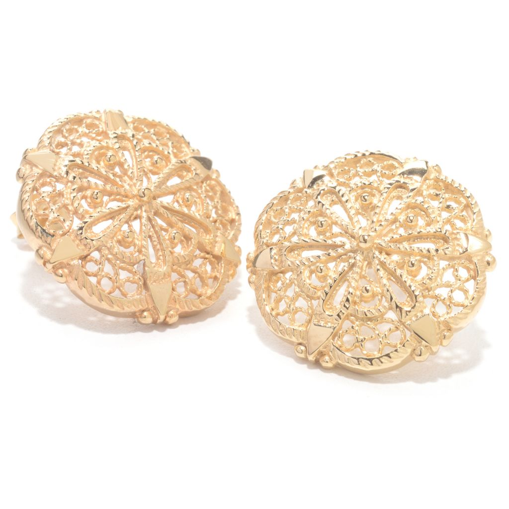 141-662 - Antalia™ Turkish Jewelry 18K Gold Embraced™ Filigree & Beaded Button Earrings