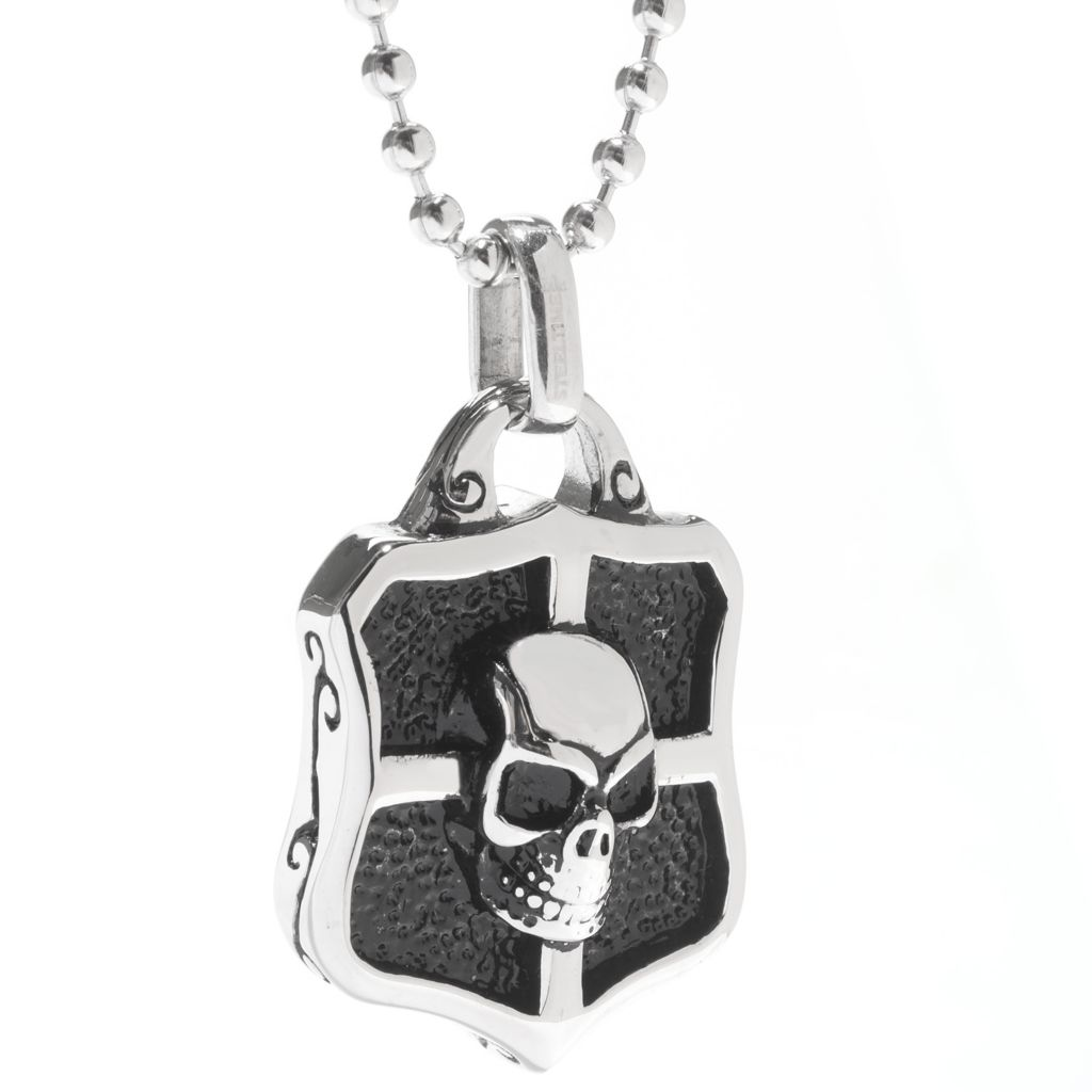 "141-677 - Steel Impact™ Men's Stainless Steel Skull Shield Pendant w/ 22"" Chain"