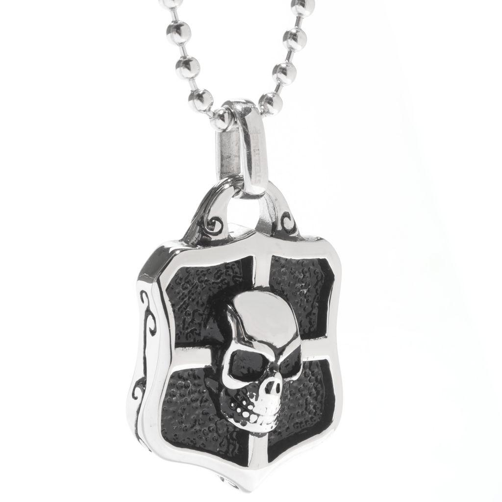 "141-677 - Steel Impact™ Men's Stainless Steel Skull Shield Pendant w/ 22"" Chain"