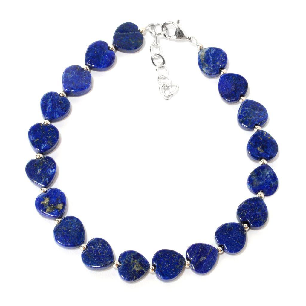 "141-689 - Gem Insider Sterling Silver 7.5"" Heart Shaped Lapis Bracelet w/ 1"" Extender"