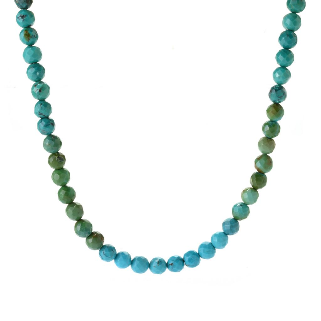 "141-690 - Gem Insider Sterling Silver 18"" Multi Color Turquoise Bead Necklace"