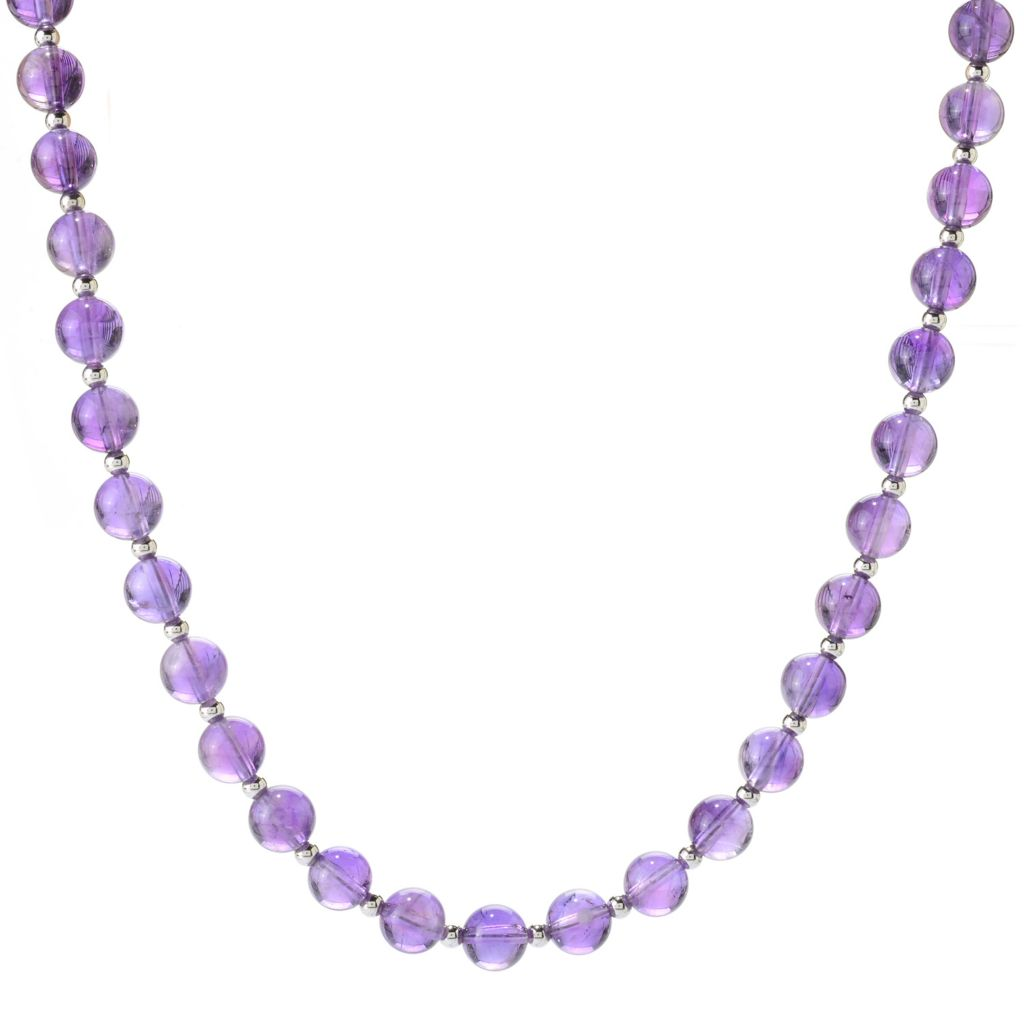 "141-692 - Gem Treasures Sterling Silver 18"" 8mm Round Amethyst Bead Necklace"