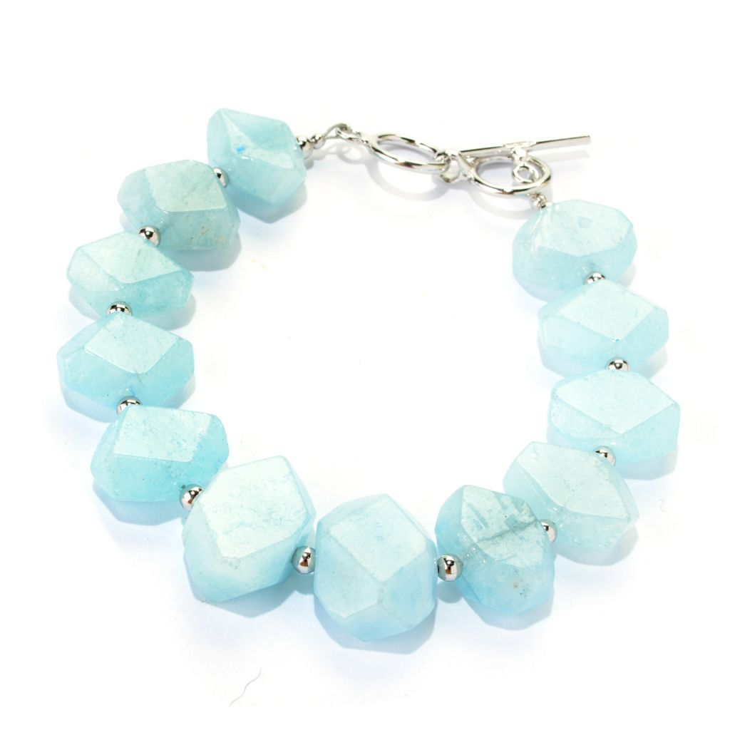 "141-693 - Gem Treasures Sterling Silver 8"" Irregular Shaped Aquamarine Toggle Bracelet"