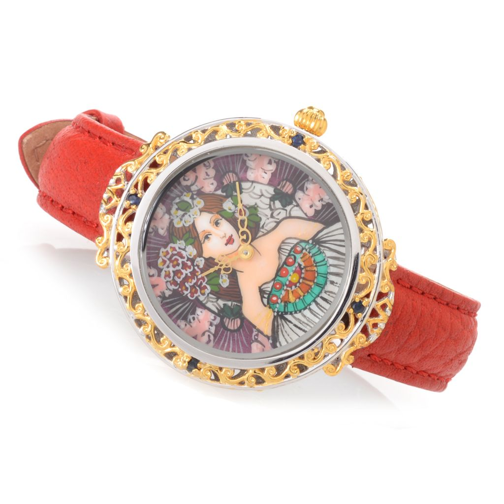 141-694 - Gems en Vogue Hand-Painted Mother-of-Pearl Leather Strap Watch