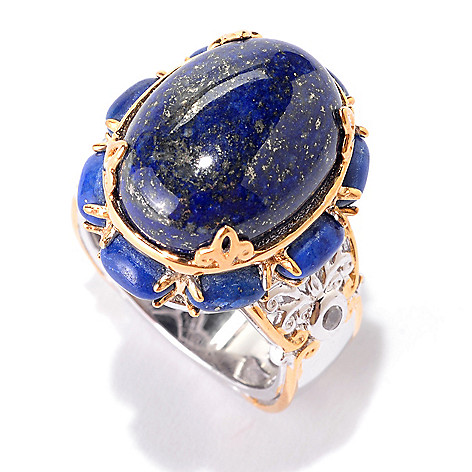 141-703 - Gems en Vogue 16 x 12mm Oval Lapis Lazuli & White Zircon North-South Ring