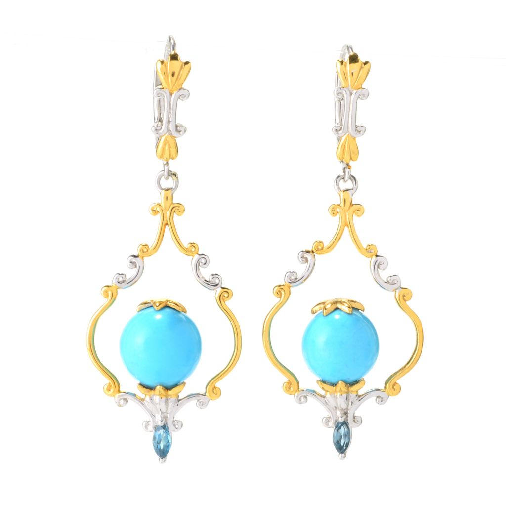 "141-704 - Gems en Vogue 1.75"" Sleeping Beauty Turquoise & London Blue Topaz Drop Earrings"