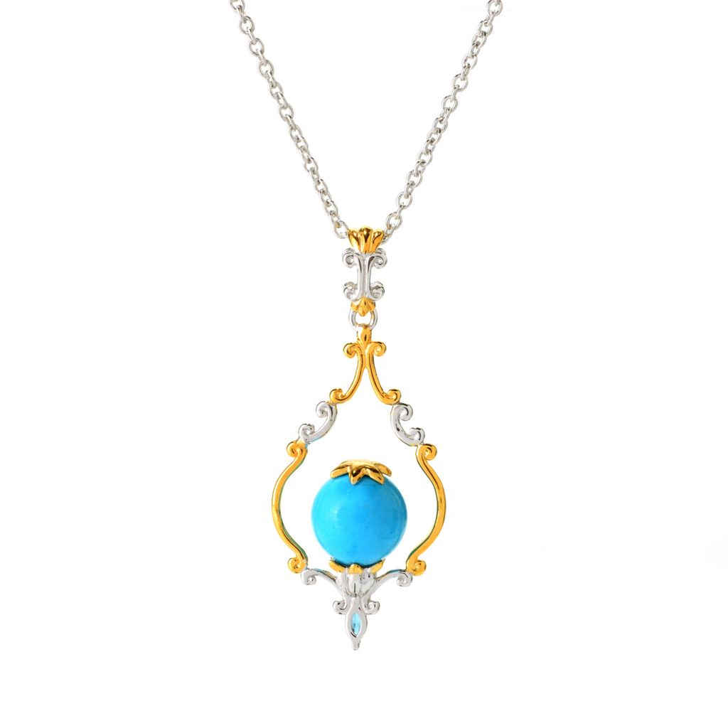 141-705 - Gems en Vogue 10mm Sleeping Beauty Turquoise & London Blue Topaz Pendant w/ Chain