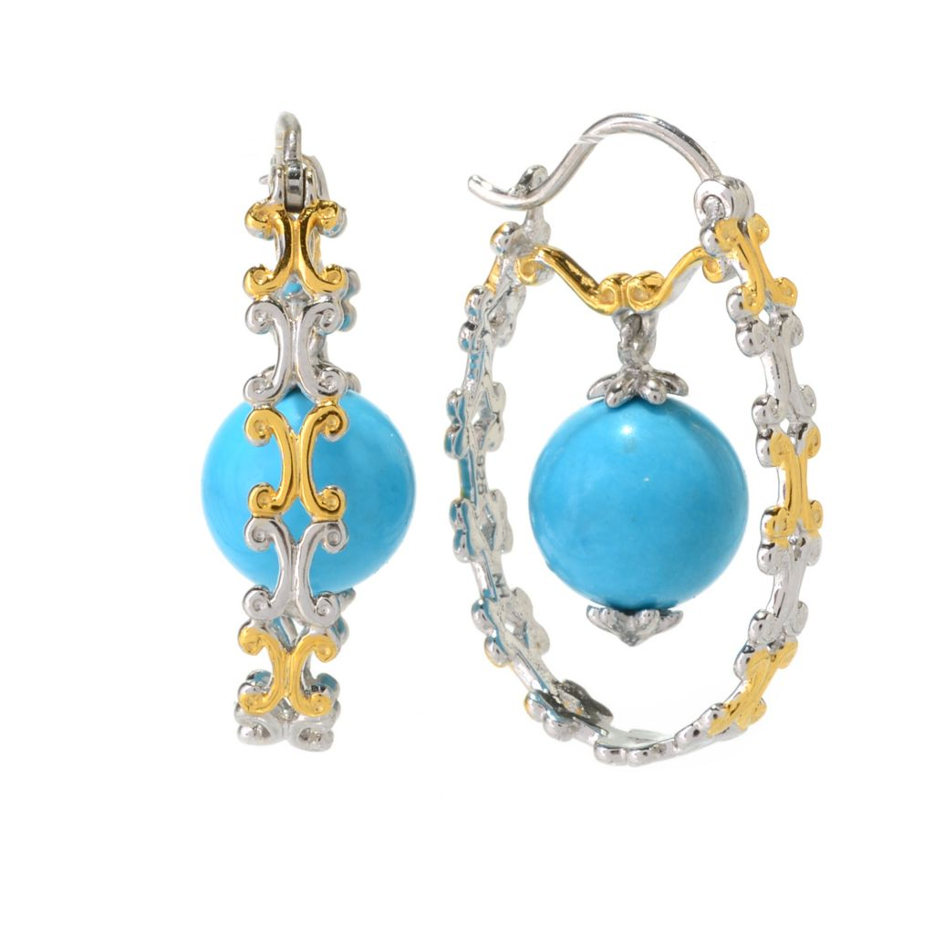 "141-706 - Gems en Vogue 1"" 10mm Sleeping Beauty Turquoise Bead Hoop Earrings"
