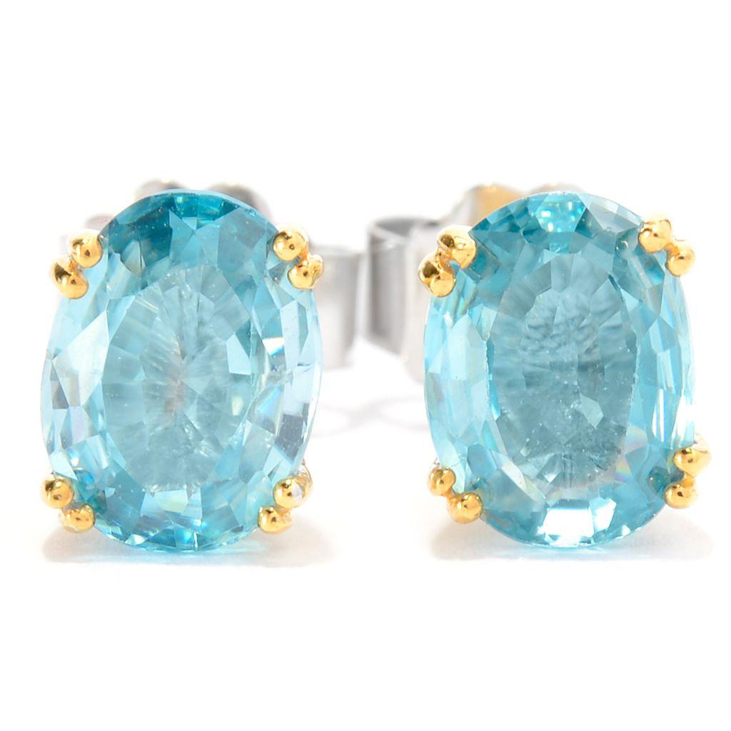 141-707 - Gems en Vogue 3.64ctw Brilliant Cut Oval Blue Zircon Stud Earrings