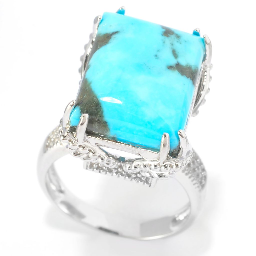 141-710 - Gem Insider Sterling Silver 16 x 12mm Kingman Turquoise Rectangle Ring