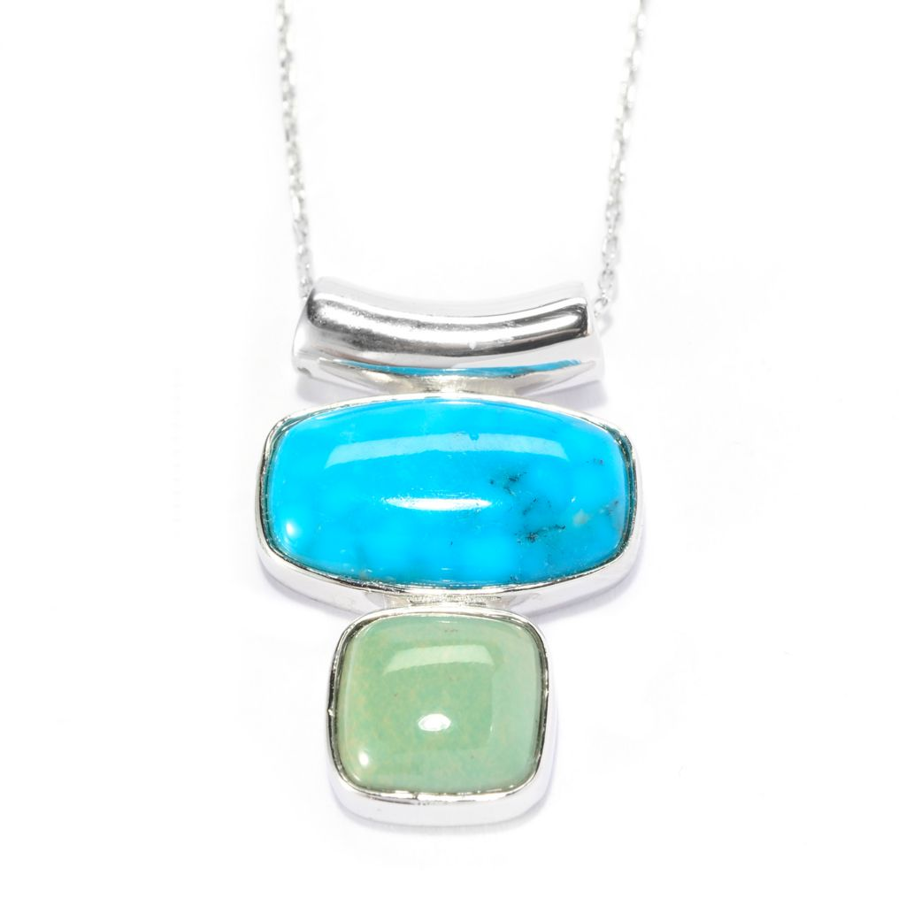 141-711 - Gem Insider Sterling Silver 18 x 10mm Blue & Green Kingman Turquoise Pendant