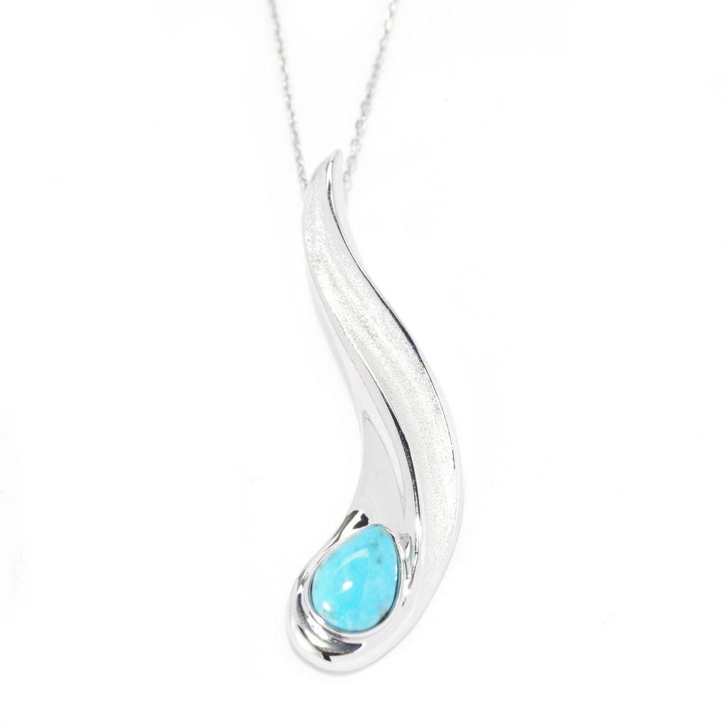 141-713 - Gem Insider Sterling Silver 10 x 7mm Teardrop Kingman Turquoise Pendant w/ Chain