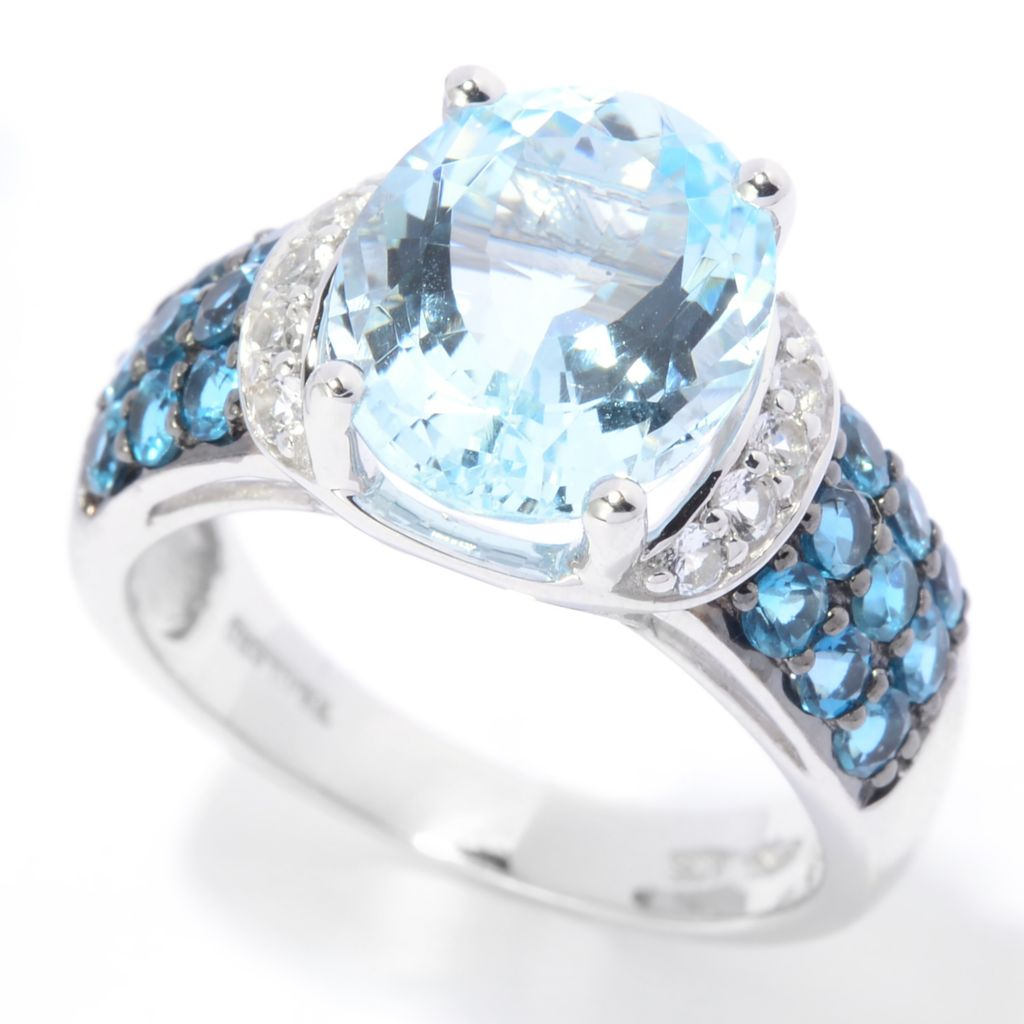 141-714 - NYC II 3.90ctw Oval Aquamarine, London Blue Topaz & White Topaz Ring