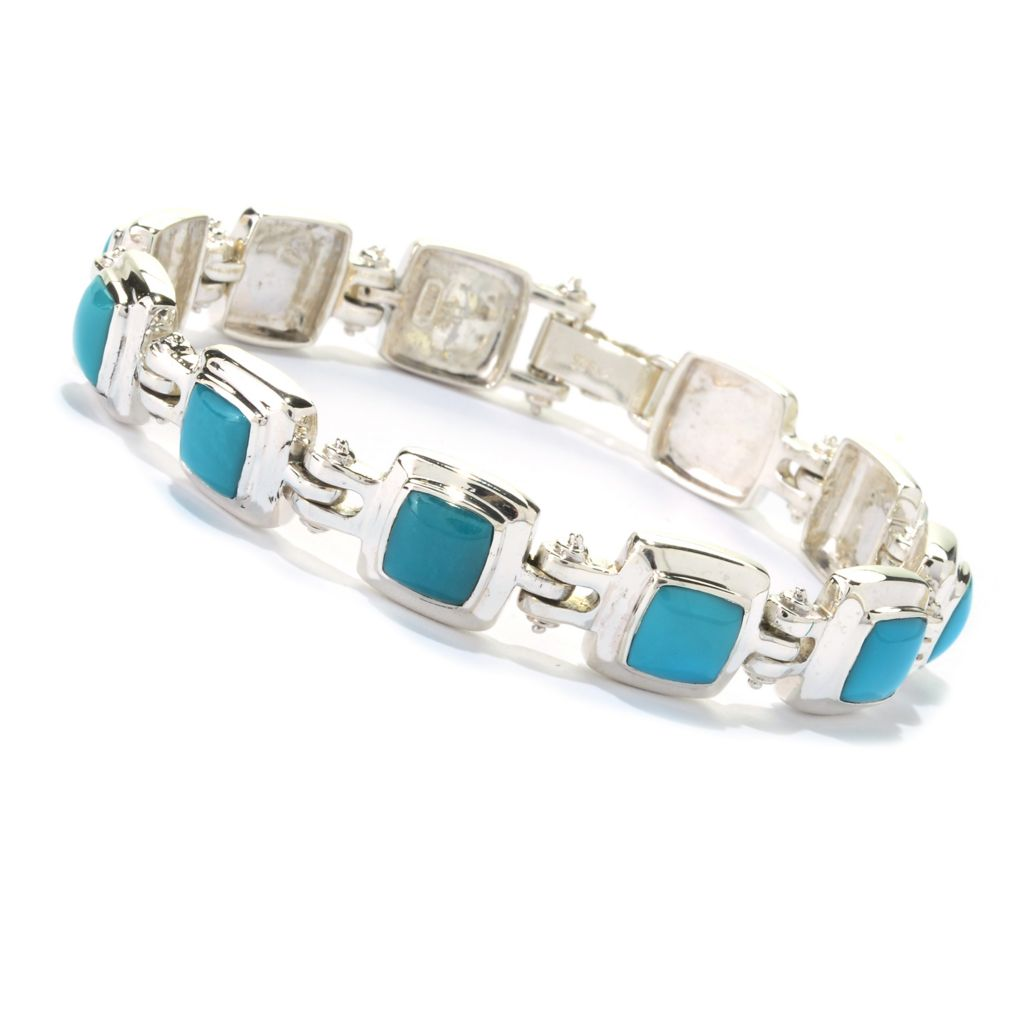 "141-715 - Gem Insider Sterling Silver 7.5"" Sleeping Beauty Turquoise Link Bracelet"