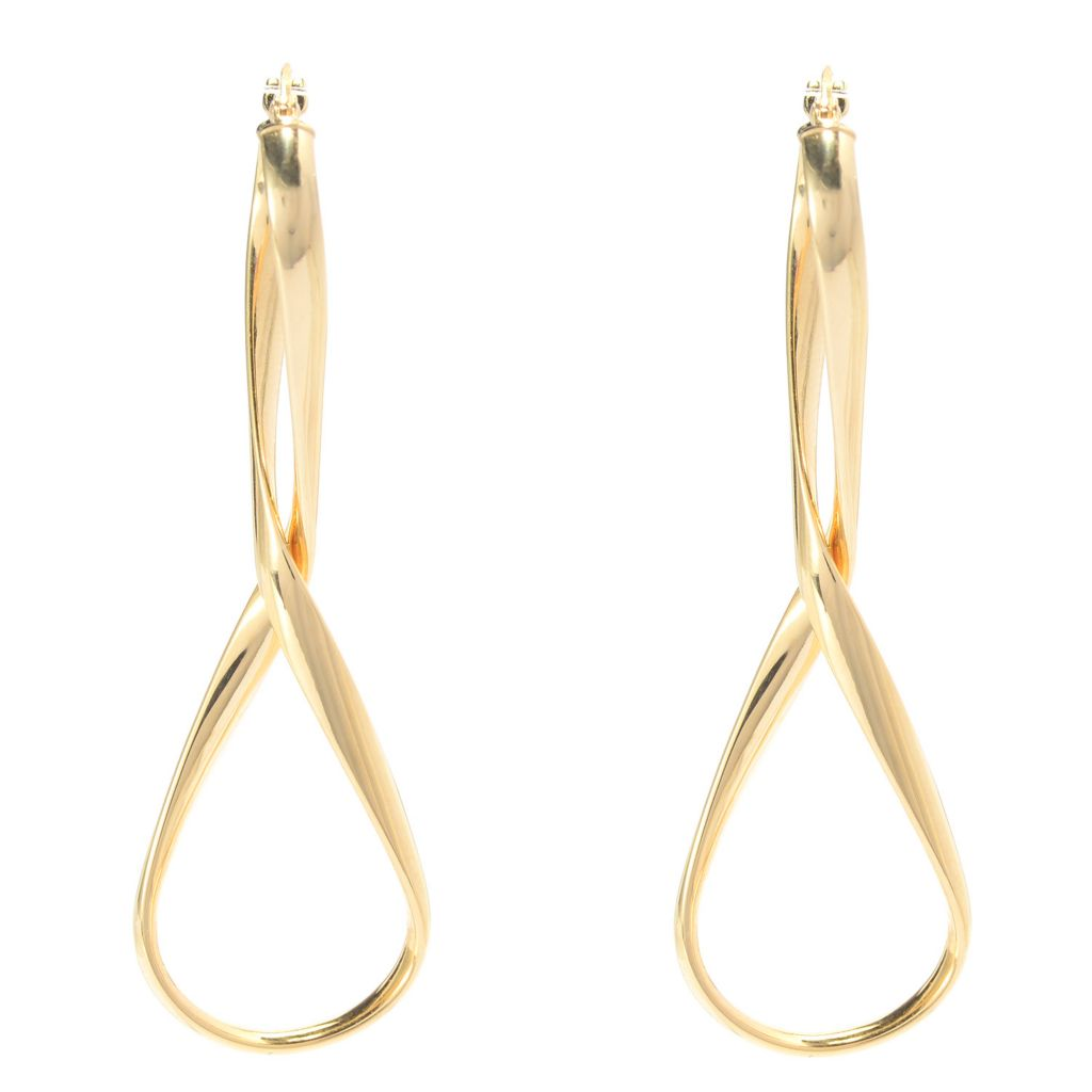 "141-717 - 14K Gold 2"" Polished & Twisted Drop Earrings"